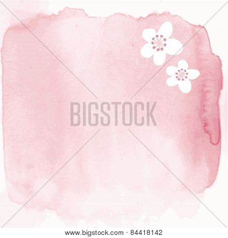 Hand Painted Watercolor Background With Japanese Cherry Blossoms