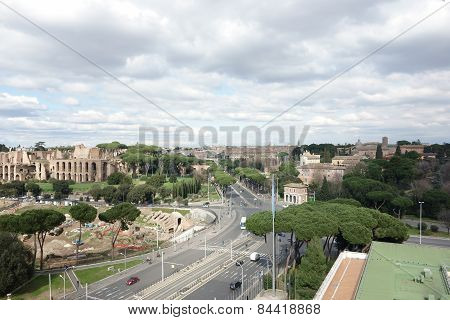 Aerial View Of Circus Maximus And The Palatine In Rome