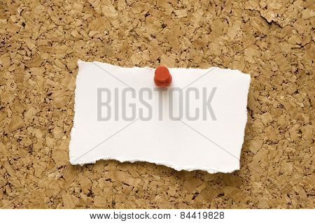Cork Bulletin Board With Torn Paper