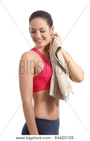 Fitness Woman Drying With A Towel After Training