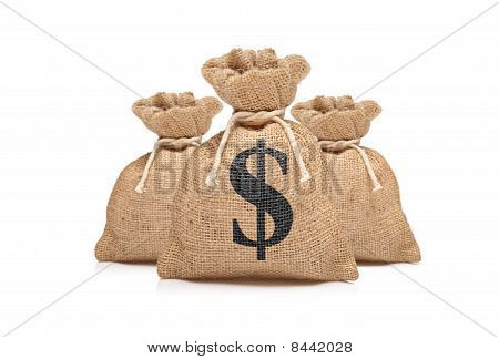 A view of three money bags with US dollar sign