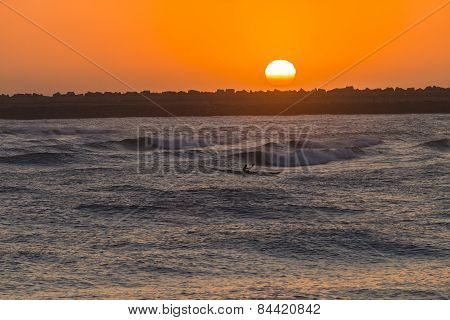 Surf-ski Paddlers Ocean Sunrise