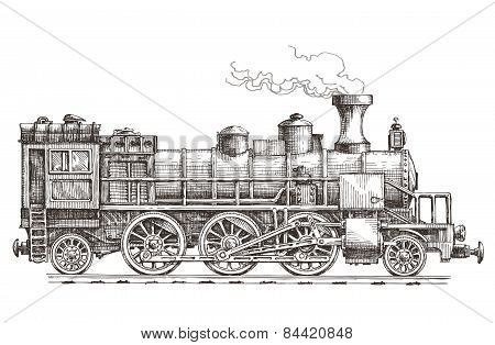 retro steam locomotive vector logo design template. train or railway transportation icon.