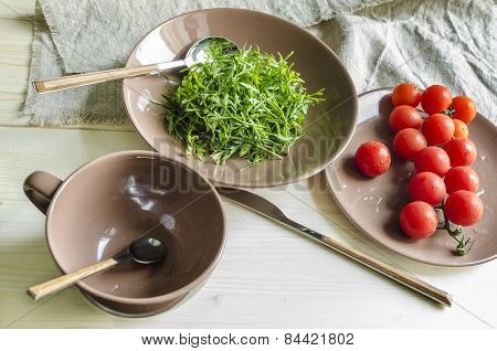 Ingredients watercress salad with cherry tomatoes