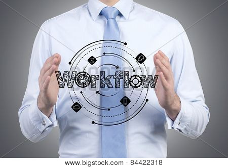 Businessman Holding Workflow