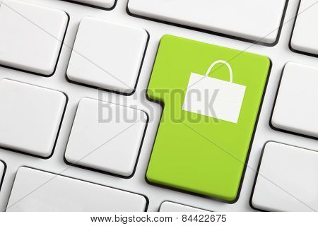 Green Shopping  Button. E-commerce or Shopping Concept