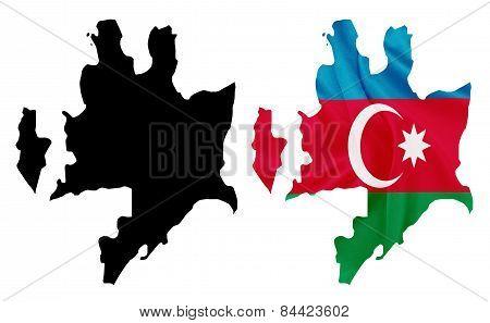 Azerbaijan - Waving national flag on map contour with silk texture
