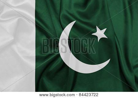 Pakistan - Waving national flag on silk texture