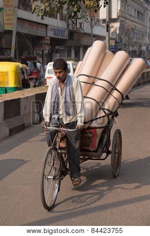 Delhi, India - November 5: Unidentified  Cycle Rickshaw Carries Goods On November 5, 2014 In Delhi,