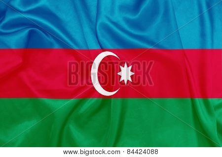 Azerbaijan - Waving national flag on silk texture