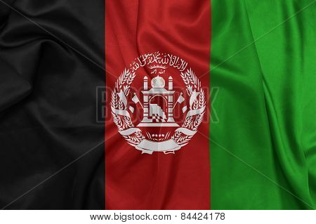 Afghanistan - Waving national flag on silk texture