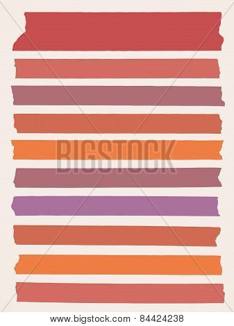 Horizontal, colorful and different size sticky tape,adhesive pieces on light brown background