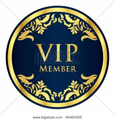 Blue Vip Member Badge With Golden Vintage Pattern