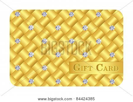 Luxury Golden Gift Card With Small Diamonds