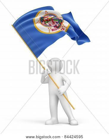 Man and flag of Minnesota (clipping path included)