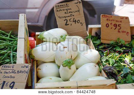 Fresh Eggplants, Aubergine Vegetables On Street Market In Provence