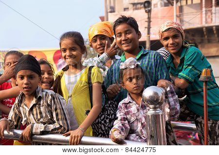 Delhi, India - November 5: Unidentified Children Take Part In Guru Nanak Gurpurab Celebration On Nov