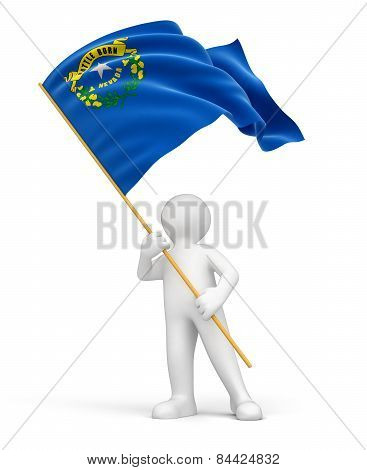 Man and flag of Nevada (clipping path included)