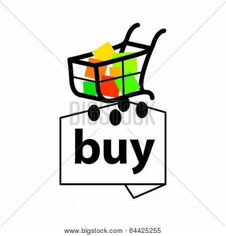 Vector Icon Basket With Goods To Buy