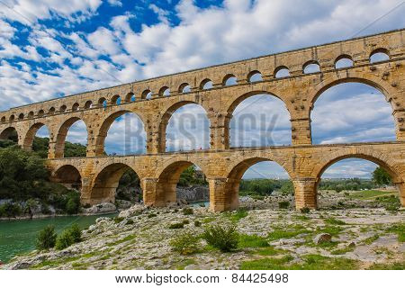 Pont Du Gard, An Old Roman Aqueduct Near Nimes In Southern France