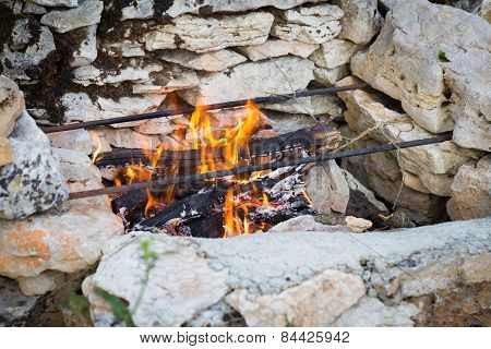 Self Built Masonry Barbeque With Fire