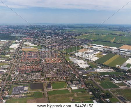 Aerial Panorama Of The Residential Area At Amsterdam