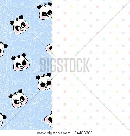 children frame with pandas and stars