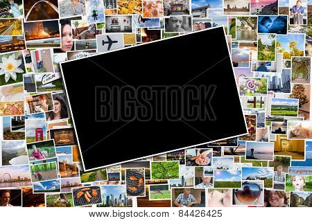 Postcard Or Photo Template With A Background Of Photos And Postcards
