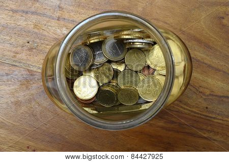 Euro Cents In A Glass Jar