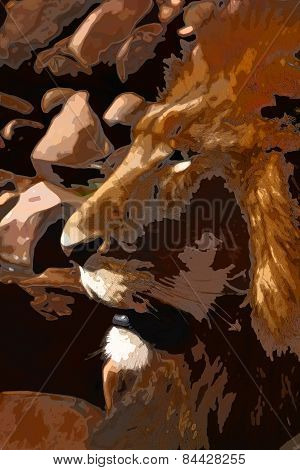 Abstract Close-up Illustration Of Large Lion Face