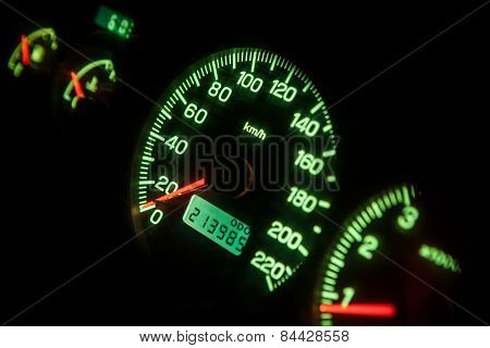 Speed meter of a car in special light