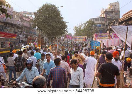 Delhi, India - November 5: Unidentified People Walk At Chandni Chowk On November 5, 2014 In Delhi, I