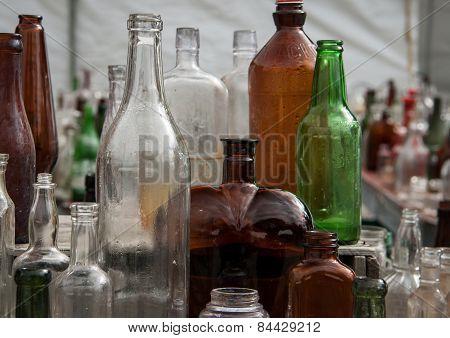 bottles at a flea market