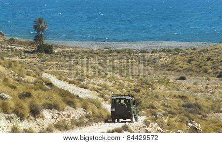 Gravel Road To The Beach With Four Wheel Drive