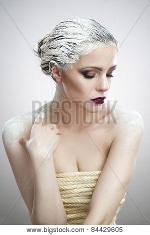 Portrait Beautiful Woman With Creative Makeup