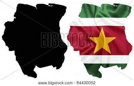 Suriname - Waving national flag on map contour with silk texture