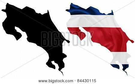 Costa Rica - Waving national flag on map contour with silk texture