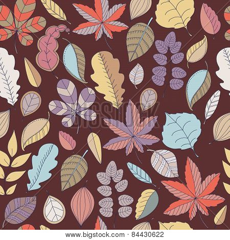 Seamless pattern of leaf. Autumn seamless pattern whith leaves