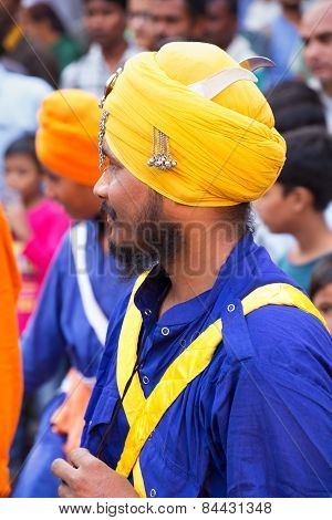 Delhi, India - November 5: Unidentified Man (portrait) Takes Part In Guru Nanak Gurpurab Celebration