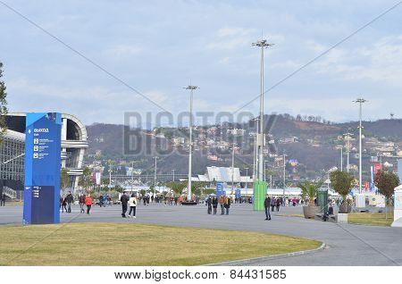 People walking in Olympic park in Sochi, Russia.