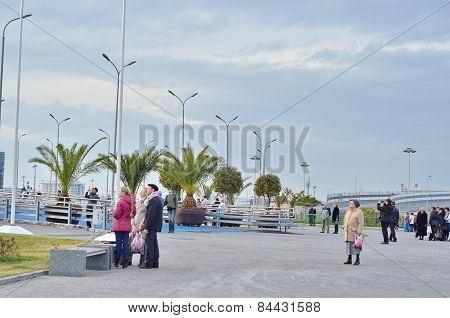 People looking one side in Olympic park in Sochi, Russia