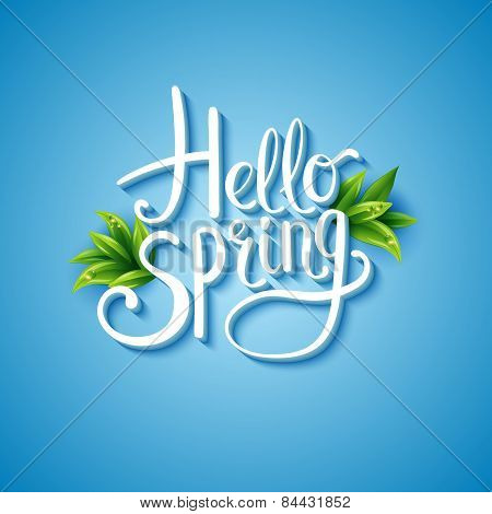 Fresh blue Hello Spring background