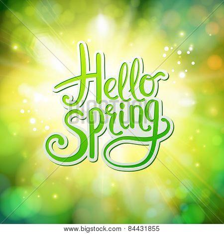 Hello Spring fresh green greeting card