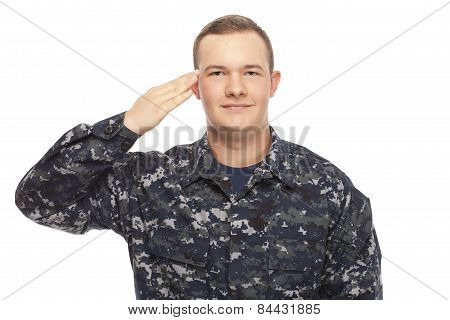 Navy Man Saluting