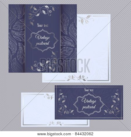 Greeting and invitation cards. Cover with silver pattern and the inner side for text.