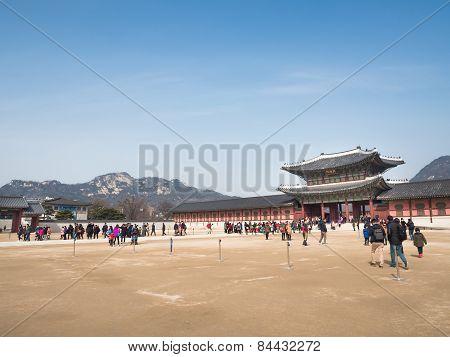 Tourists Gather Outside Of Gyeongbokgung Palace.