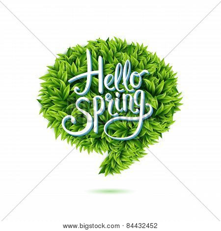 Hello Spring speech bubble in green leaves