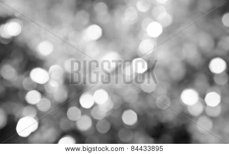 Abstract Background Of Defocus Bokeh Lights In Black And White