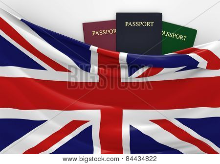 Travel and tourism in the United Kingdom, with assorted passports