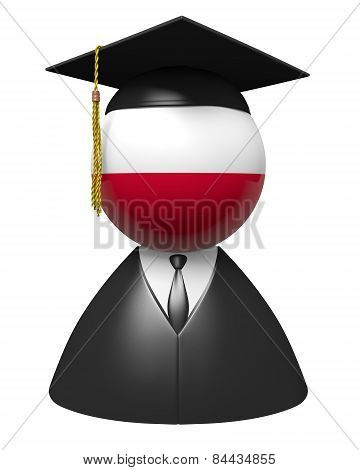 Poland college graduate concept for schools and academic education